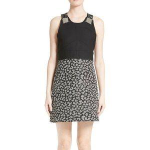 CARVEN Floral & Stripe Sleeveless Dress